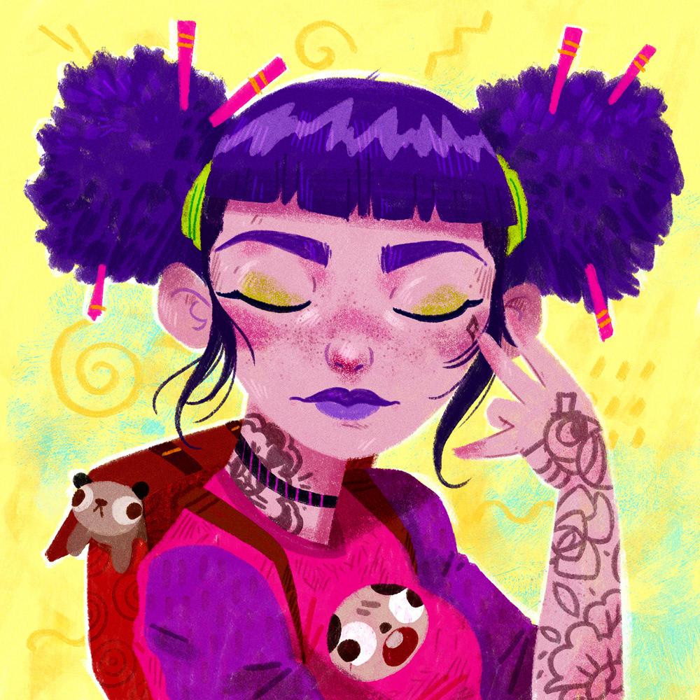 girl bird Pug hair tattoo Fashion  tshirt