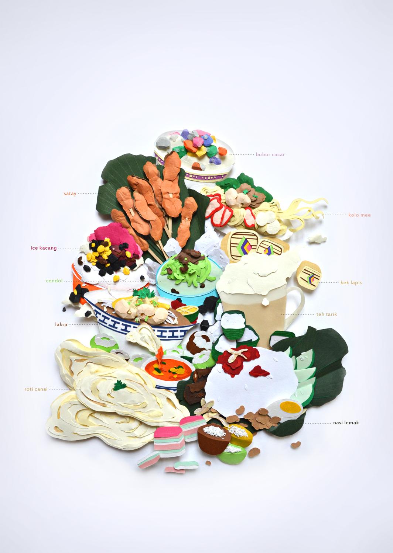 Une multitude de plats du monde en papier