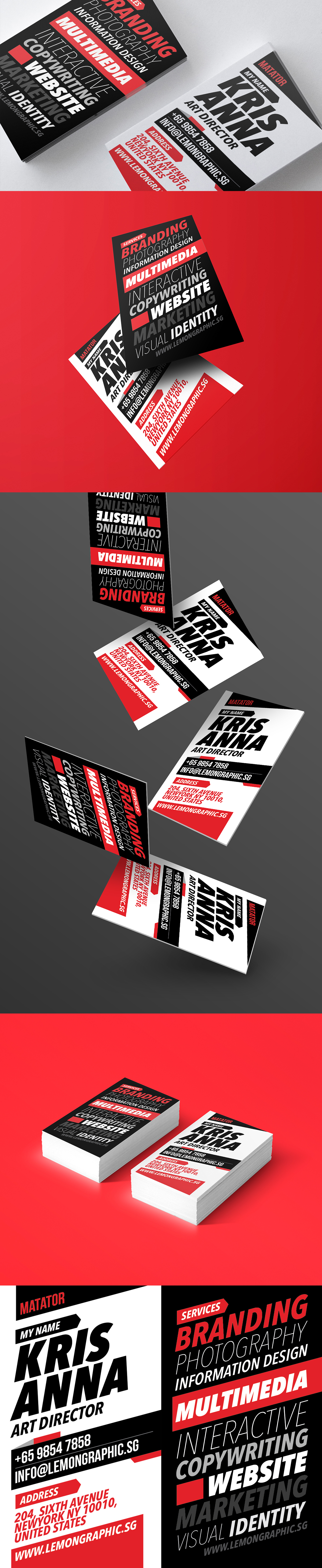 Matator red typography business card design on Behance
