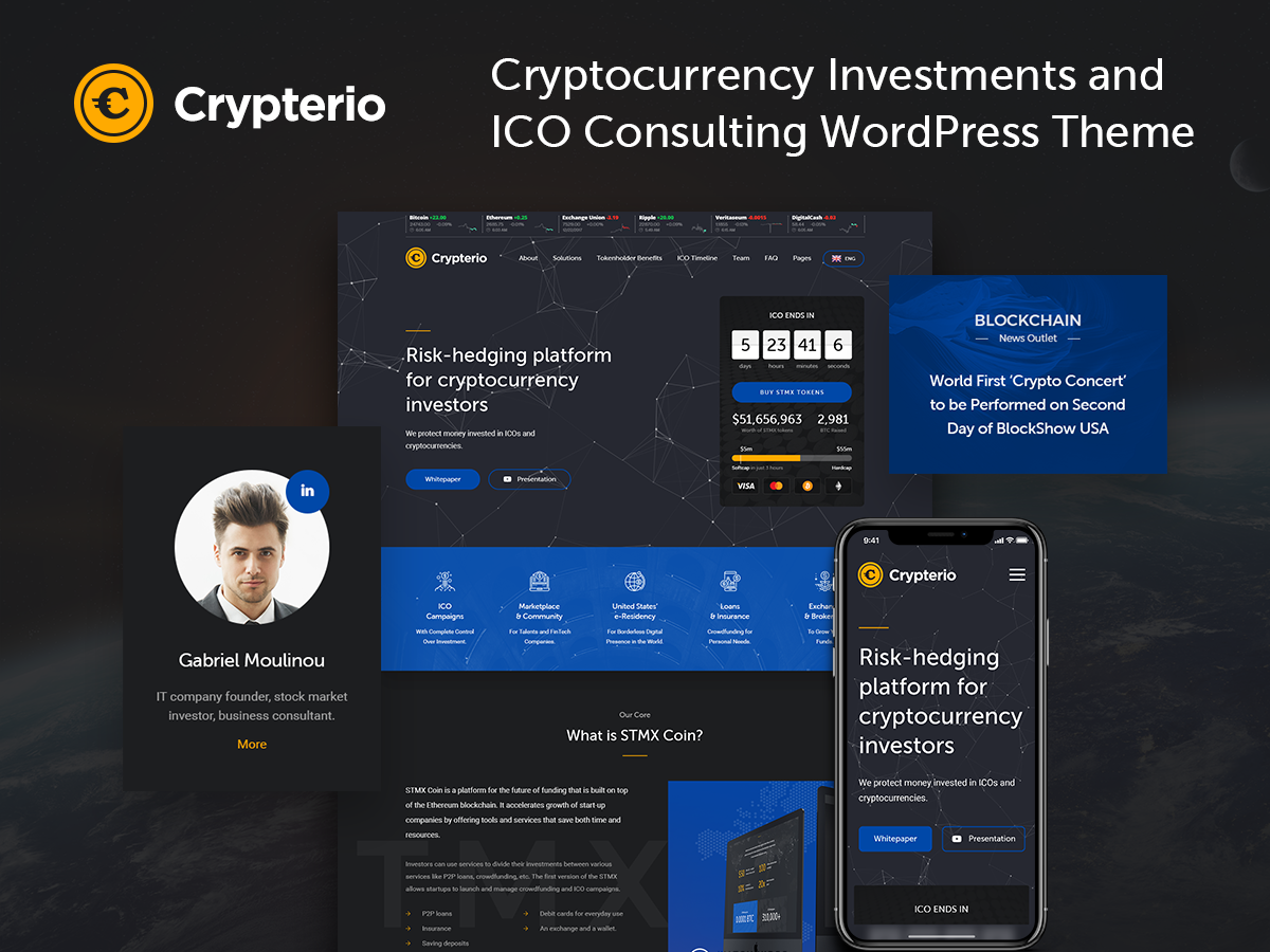 ICO Landing Page WordPress Template On Behance - Wordpress landing page template