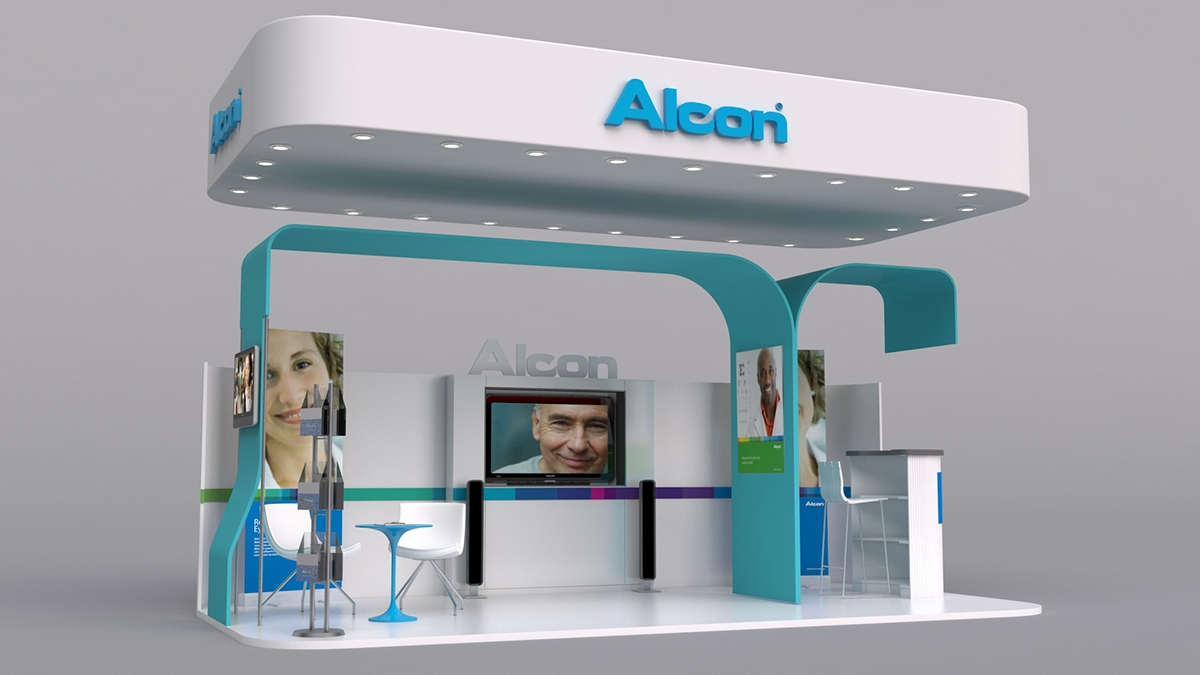 3d Exhibition Booth Design : Alcon booth on behance