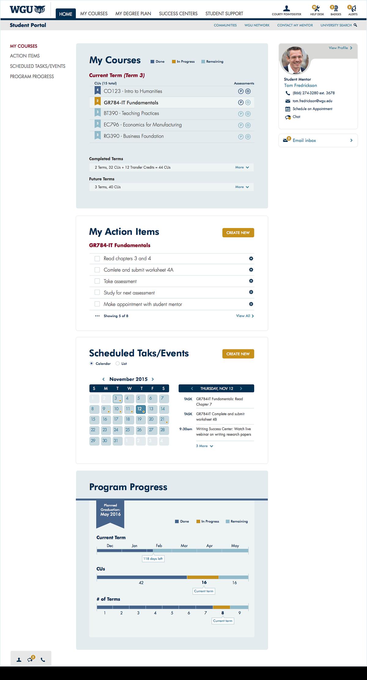WGU Education UI ux Student portal Website ui kit