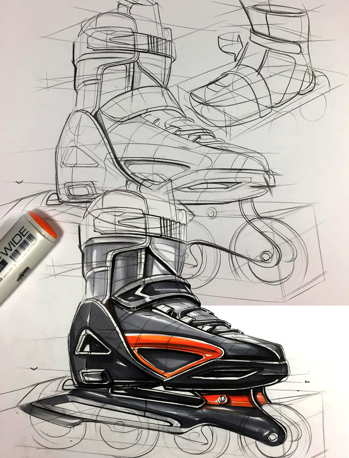 Product Design Line Art : Industrail design sketch marker rendering tutorial on