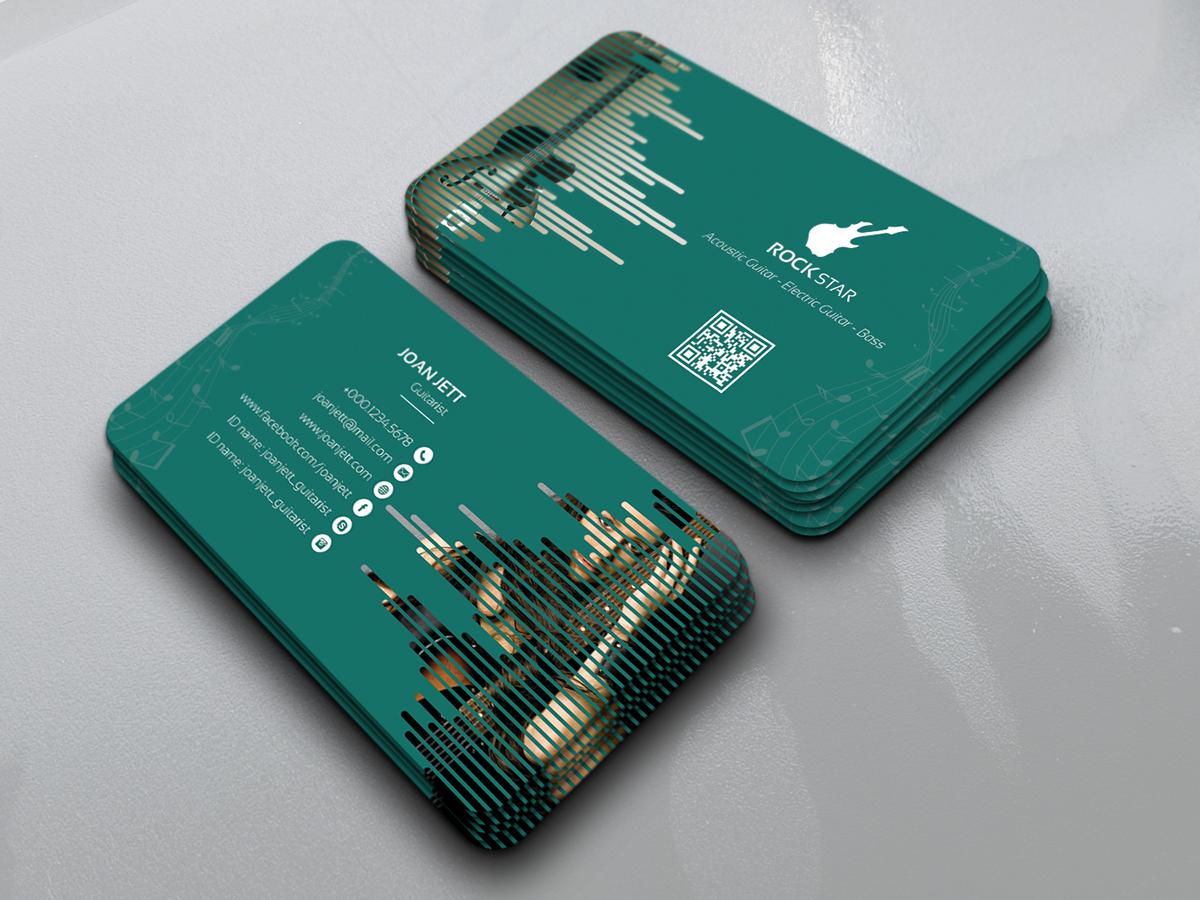 guitar musician business card on behance
