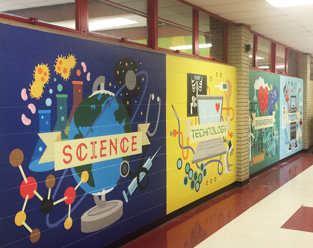 S t e m murals kilpatrick elementary on behance for Elementary school mural ideas