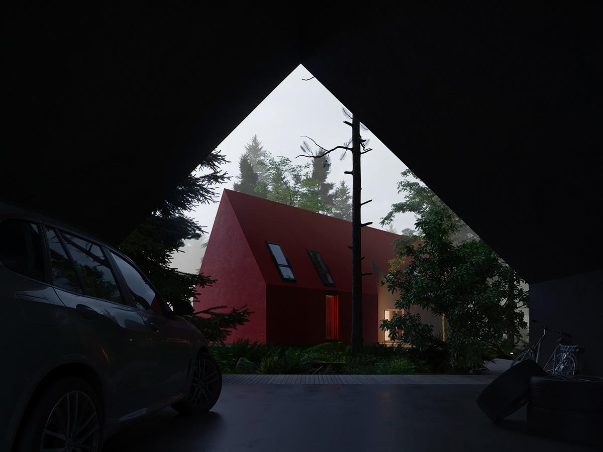 architecture minimalizm design visualization Render corona renderer forest modern house autodesk 3ds max CGI