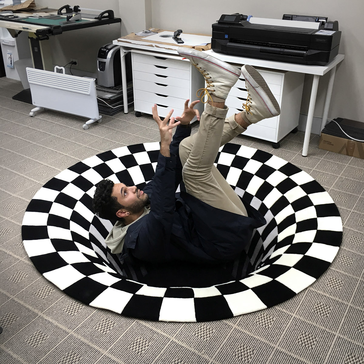 hole rug rugs 3d surface pattern behance malik daniel space project designer designed checker applied produced actual its