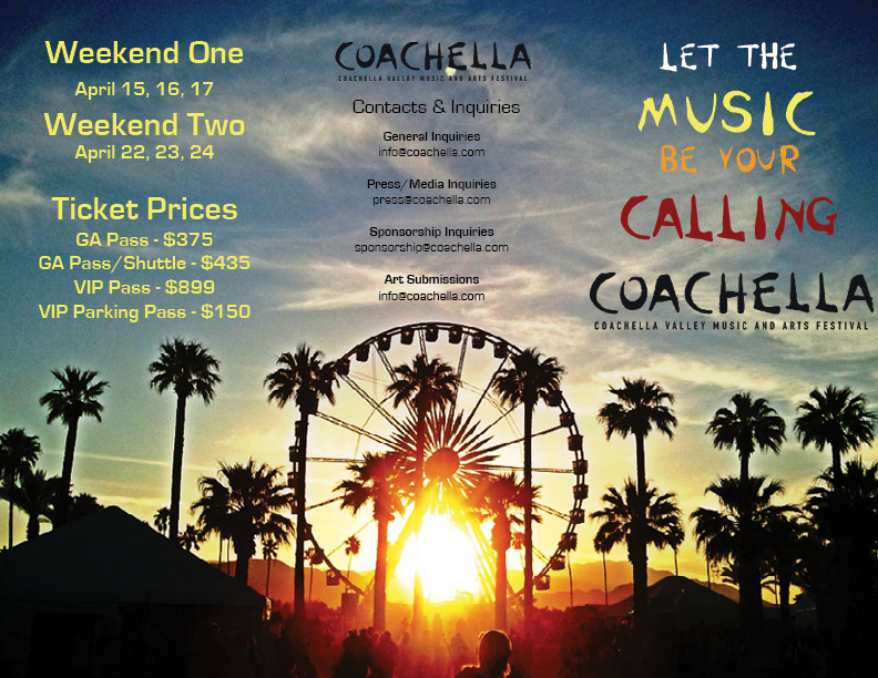 coachella brochure outside right  back  front pages on behance