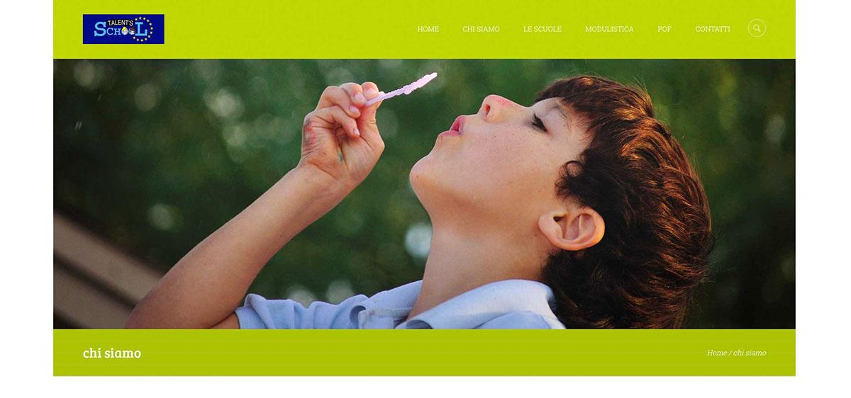 Web site design TAlent school children green slide graphic