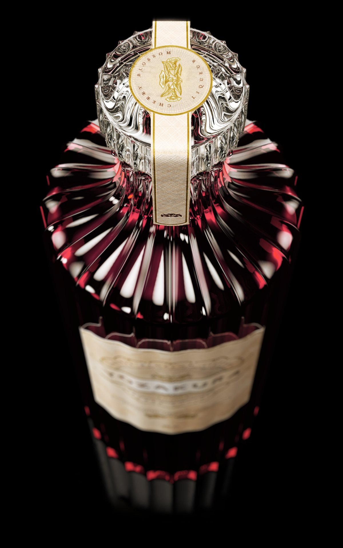CGI 3D Yozakura Liqueur Whisky beverages japan cherry blossom vray