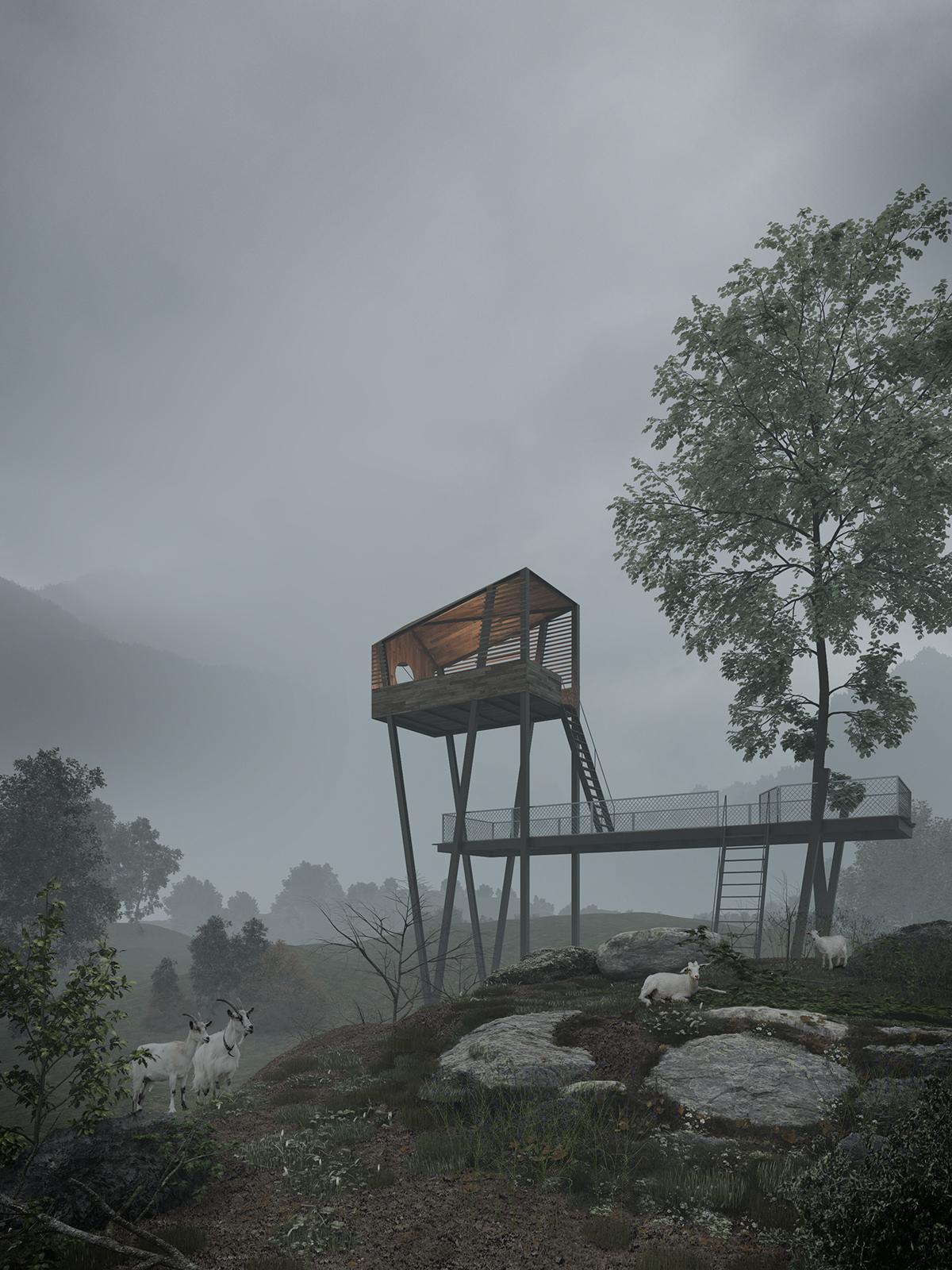 Tunglex Tung Le Xuan goat mountain Render 3dsmax natural fog log hut