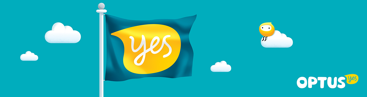 Adobe Portfolio telecomunications  yellow Optus  australia sydney telco Rebrand refresh game-changing hand drawn