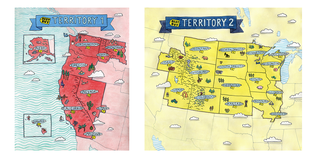 Six Illustrated Territory Maps For Best Buy On Behance - Where to buy maps