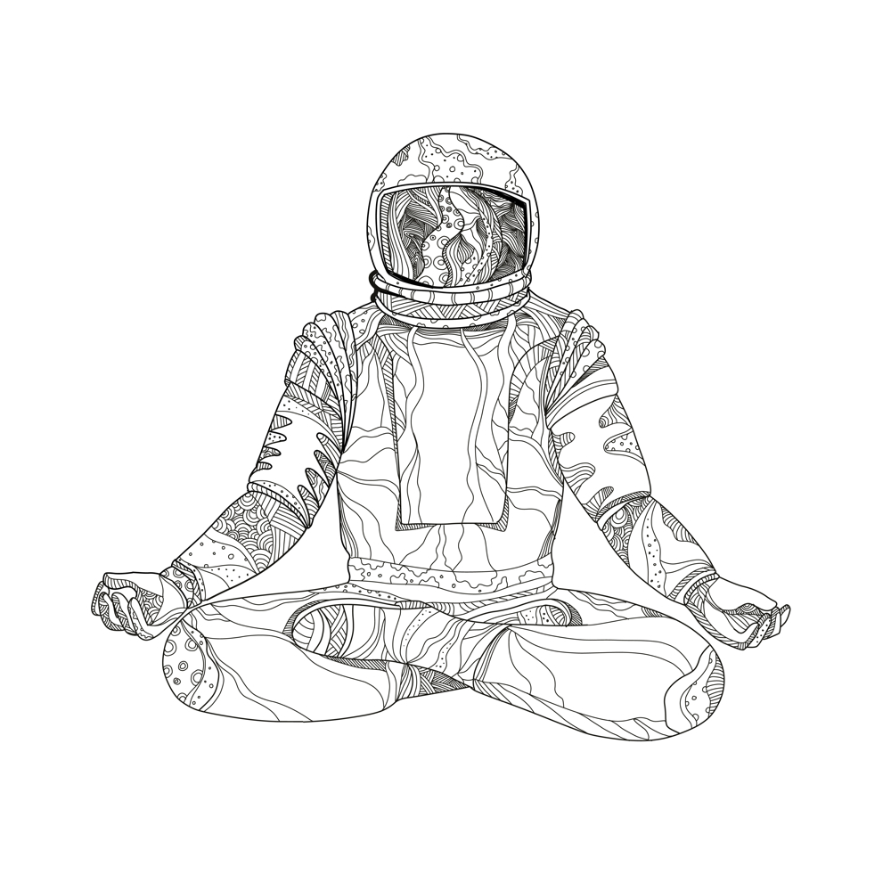 Mandala Art Illustration Of An Astronaut Cosmonaut Or Spaceman Sitting Asana With Crossed Legs In Padmasana Lotus Meditation Yoga Position Done Black