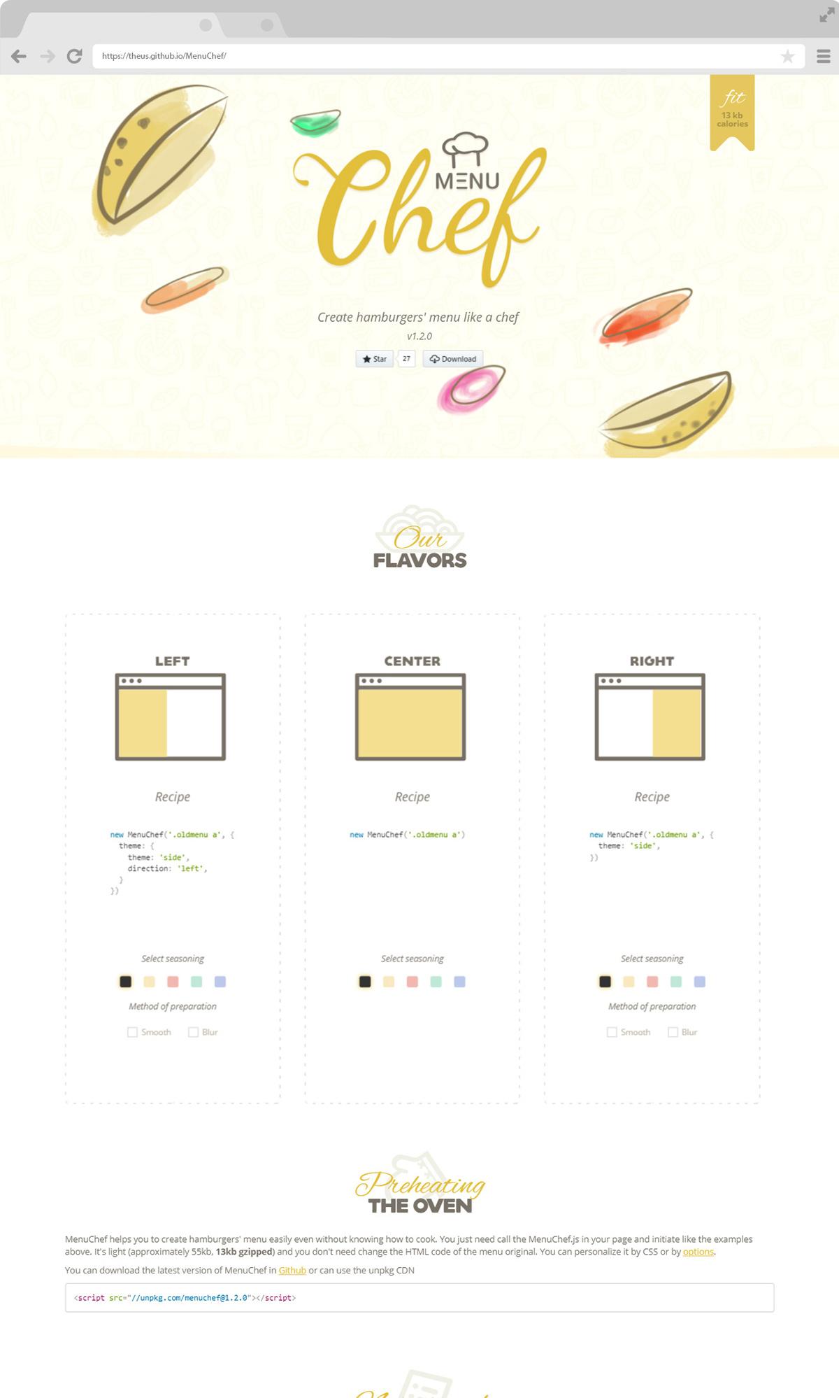 MenuChef js plugin site Web