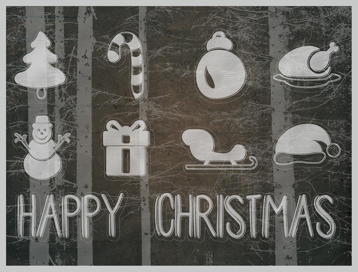 Christmas navidad tarjeta vintage icons Iconos forest bosque card