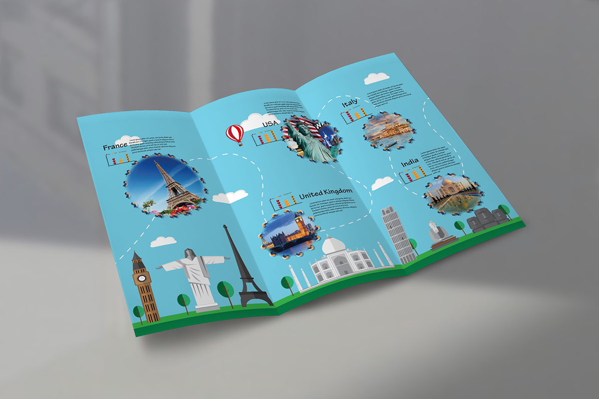 Tri-fold travel agency brochure - flat design on Student Show