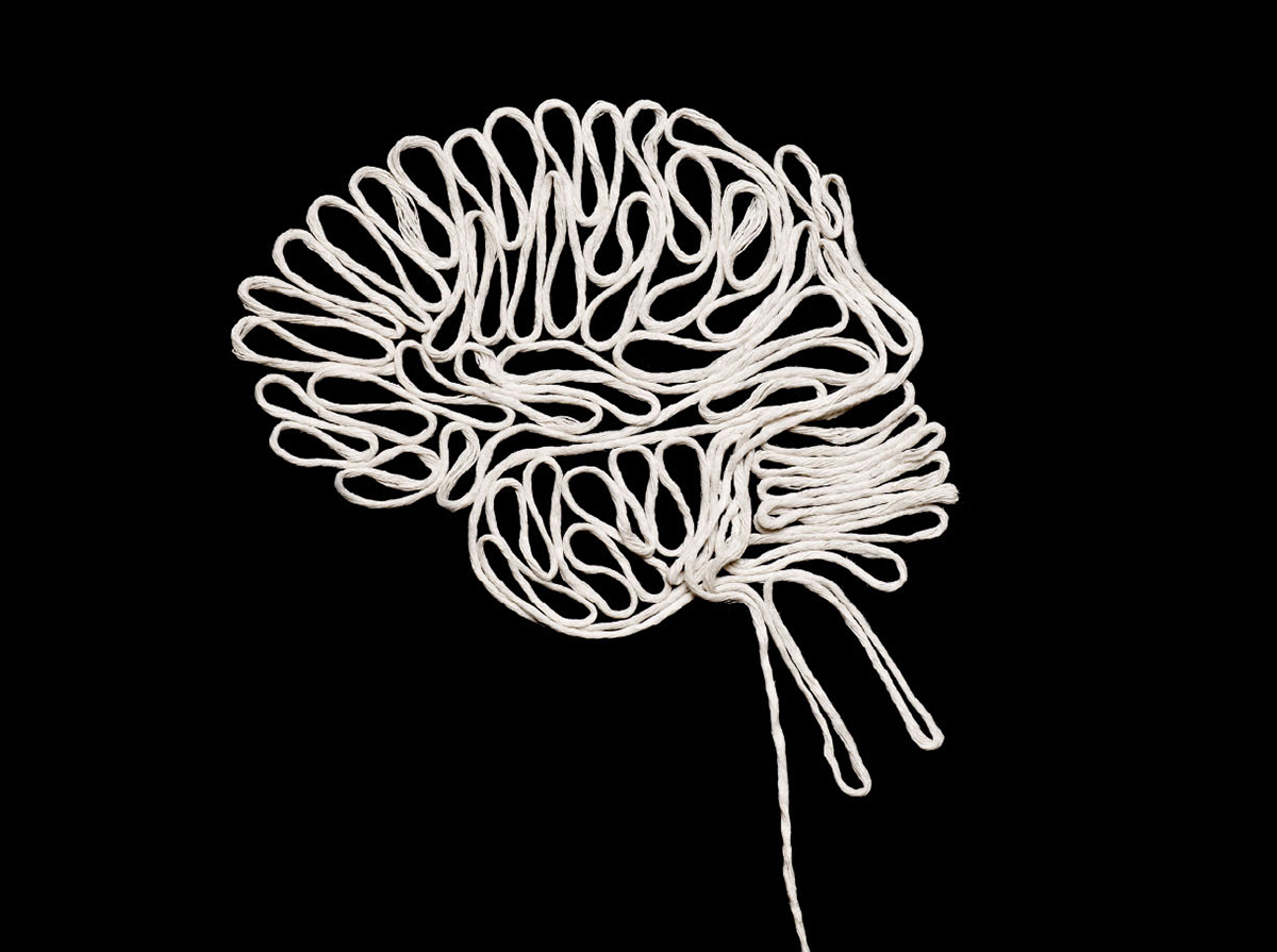 nhs dementia campaign brain design hand rendered string unravelling asthetic dark dimentia