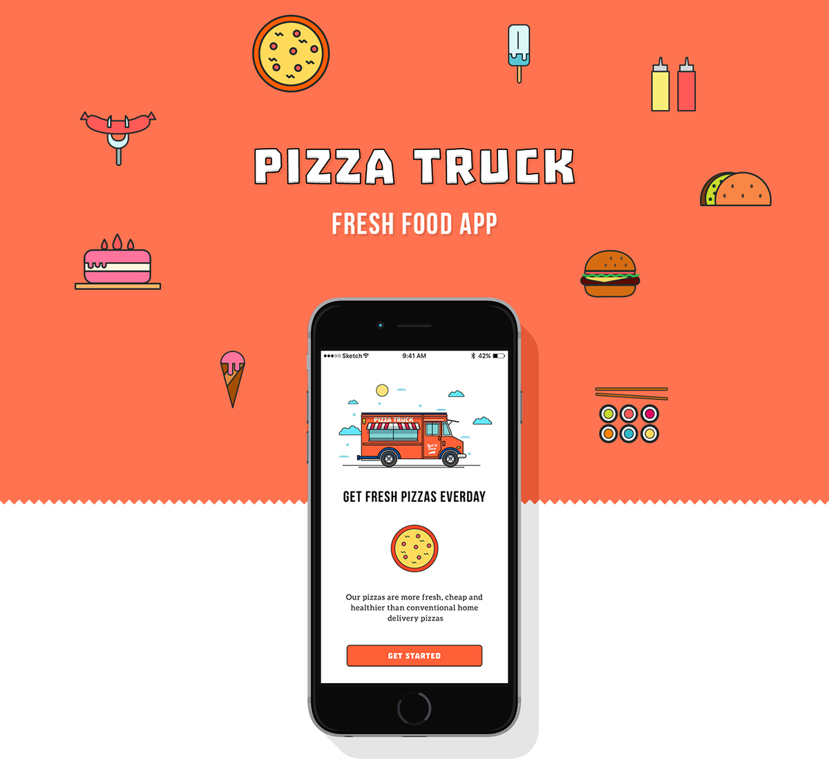 Pizza truck fresh food app on behance for Truck design app
