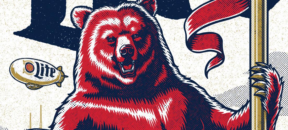 bear beer football halftone