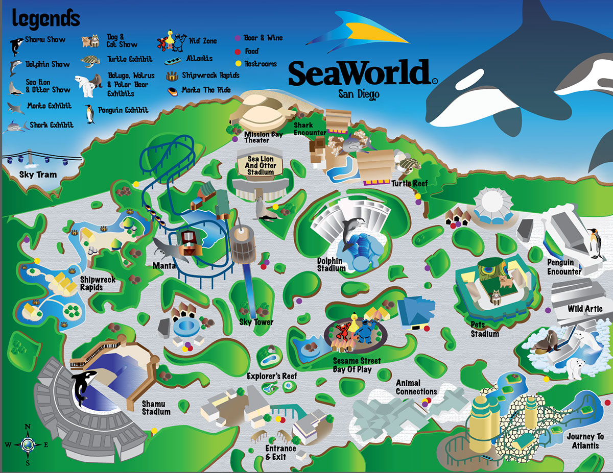 seaworld san diego map 2015 Sea World San Diego Vector Map On Behance