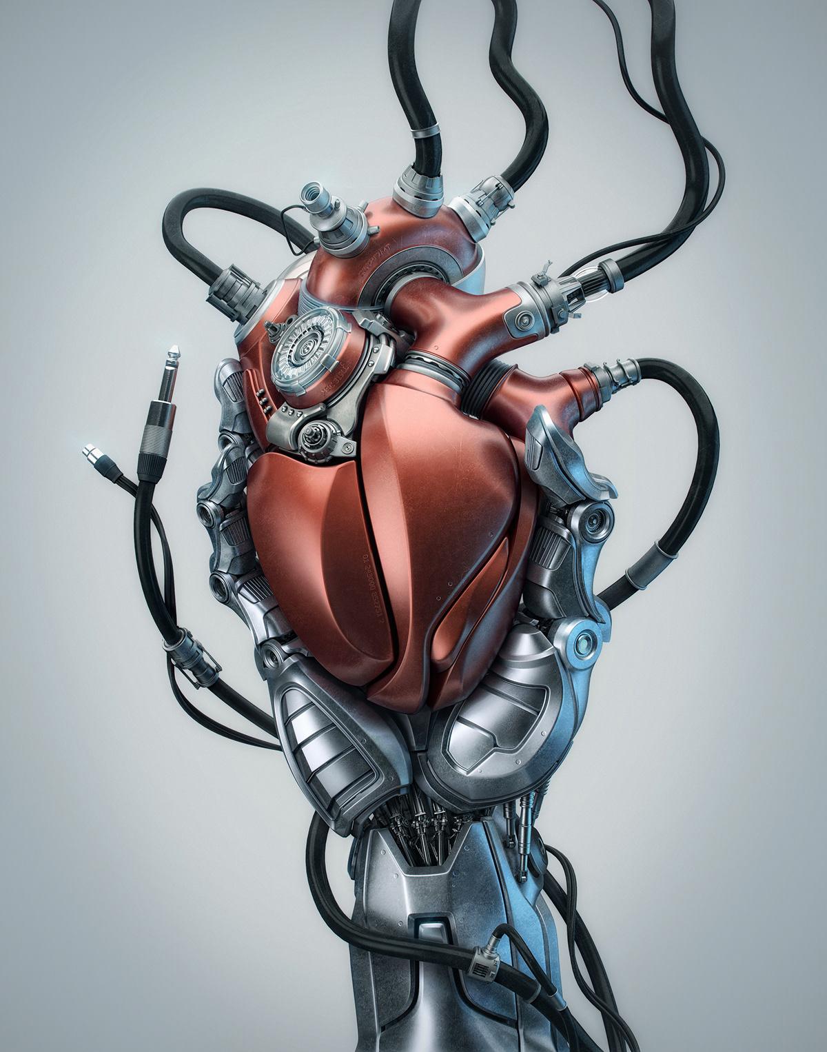 robot,CGI,mechanical heart ,3D,ai,artificial intelligence,cryptoart,cryptoartist,nft,nftart