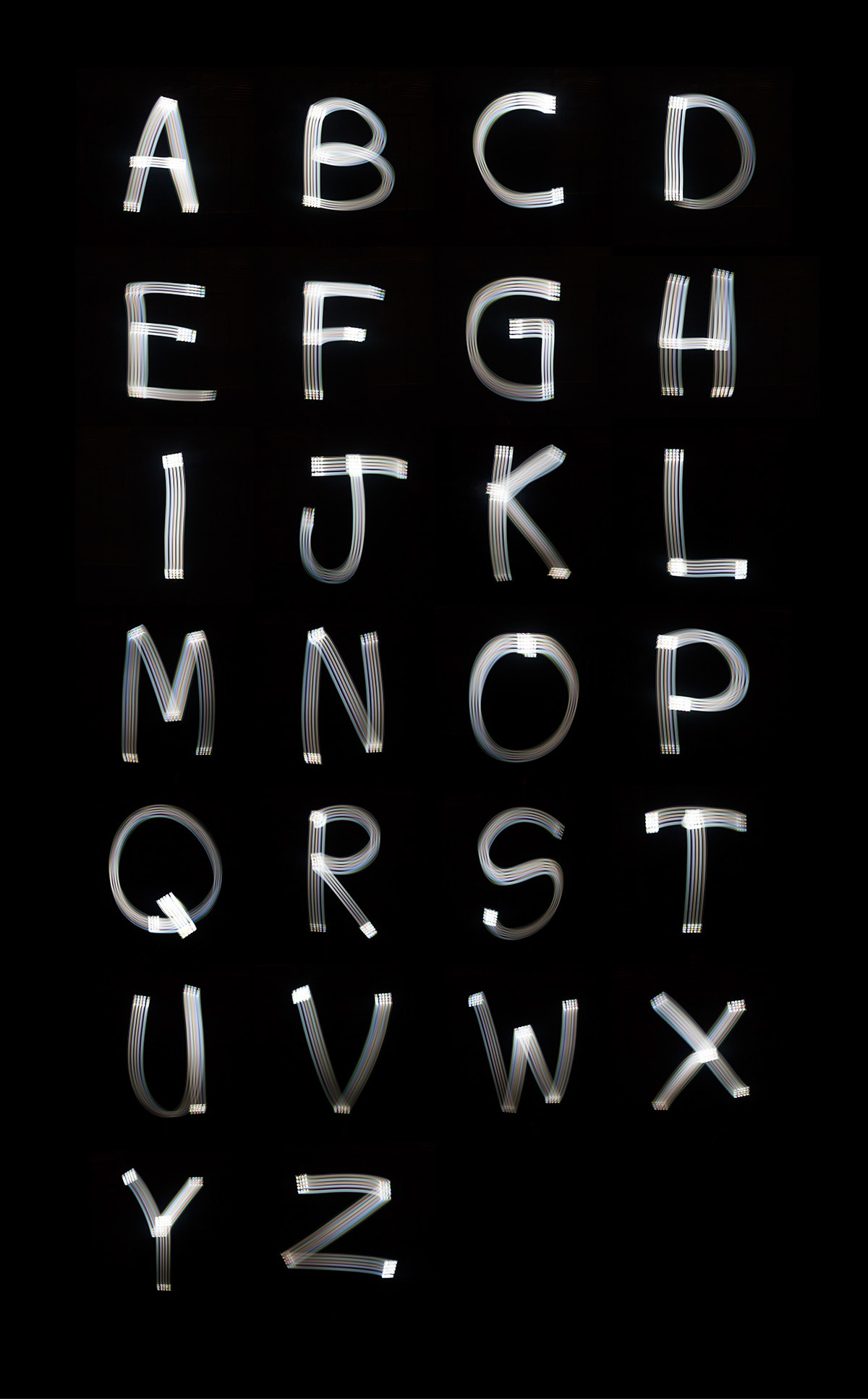 Free font created with light on Behance