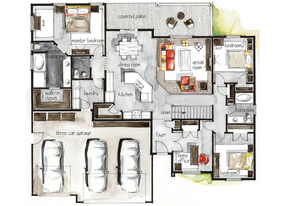 Real estate watercolor 2d floor plans part 3 on behance for Real estate floor plans