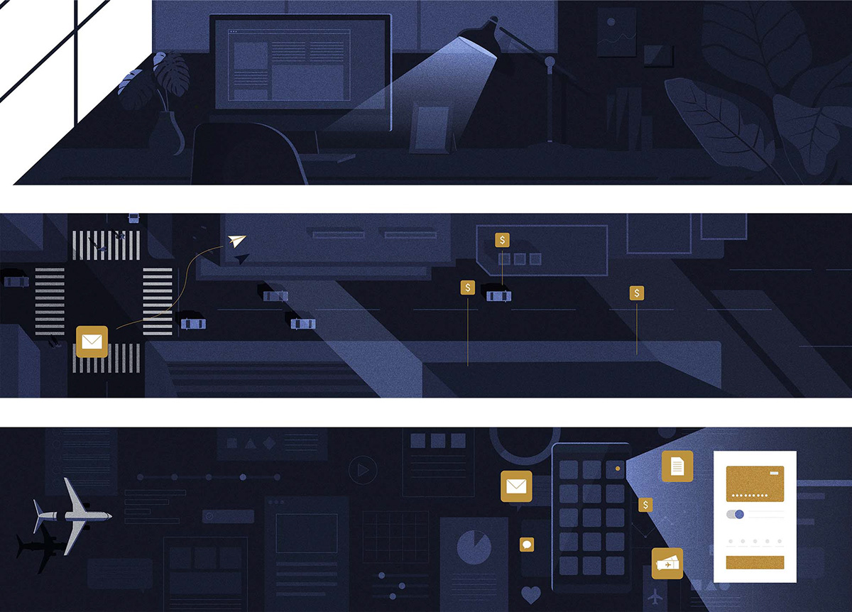 ILLUSTRATION  motiongraphic Technology motiondesign luxury blockchain Fintech storyboard