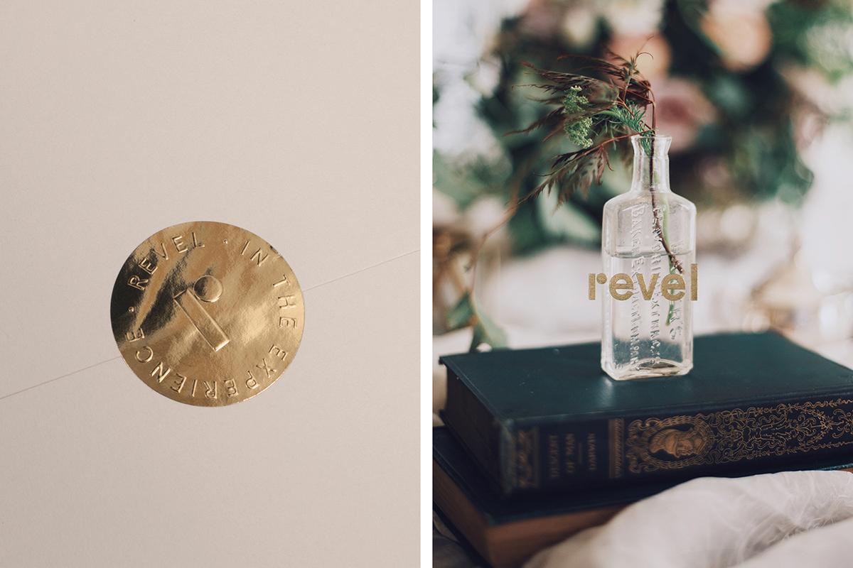 Events gold foil stamp seal emboss Stationery business card envelopes