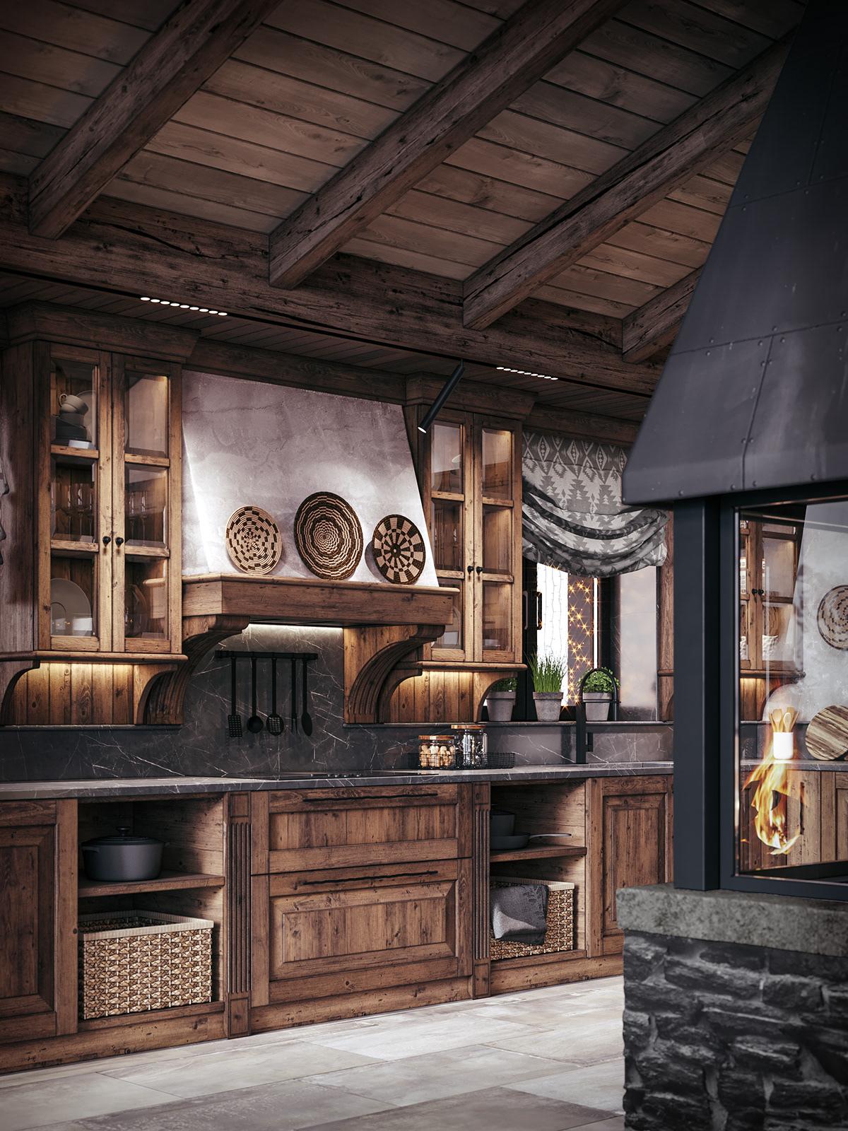 3D Visualization chalet dining room fireplace homedesign interior design  kiev kitchen rustic Switzerland