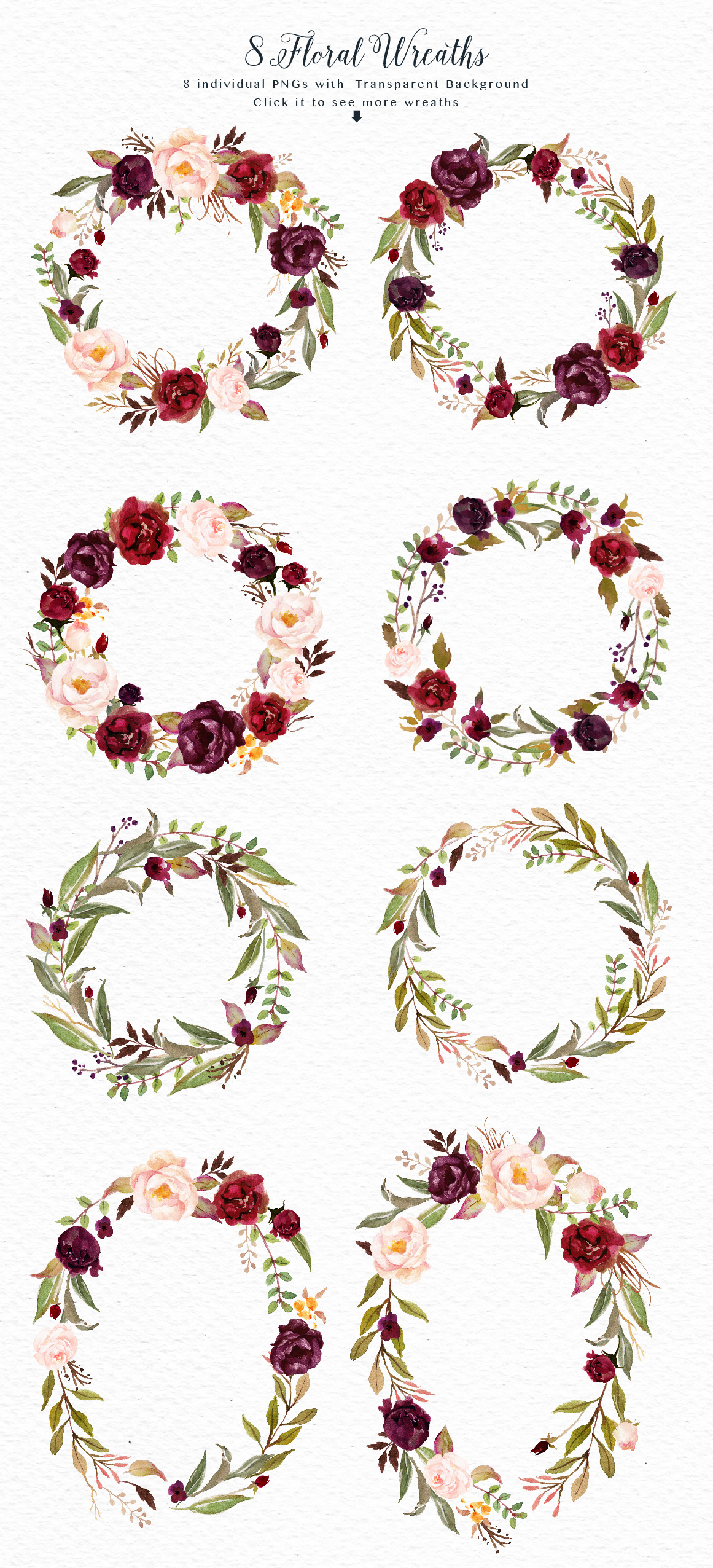 70 PNG300dpi Hand Drawn Watercolor Graphic ElementsEach Element On An Individual Png With Transparent Background 9 Flowers