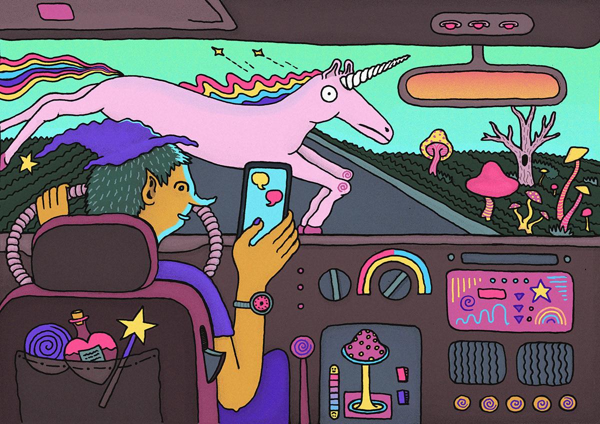 unicorn texting Driving textingwhiledriving Mushrooms trippy psychedelic ILLUSTRATION  digital fantasty