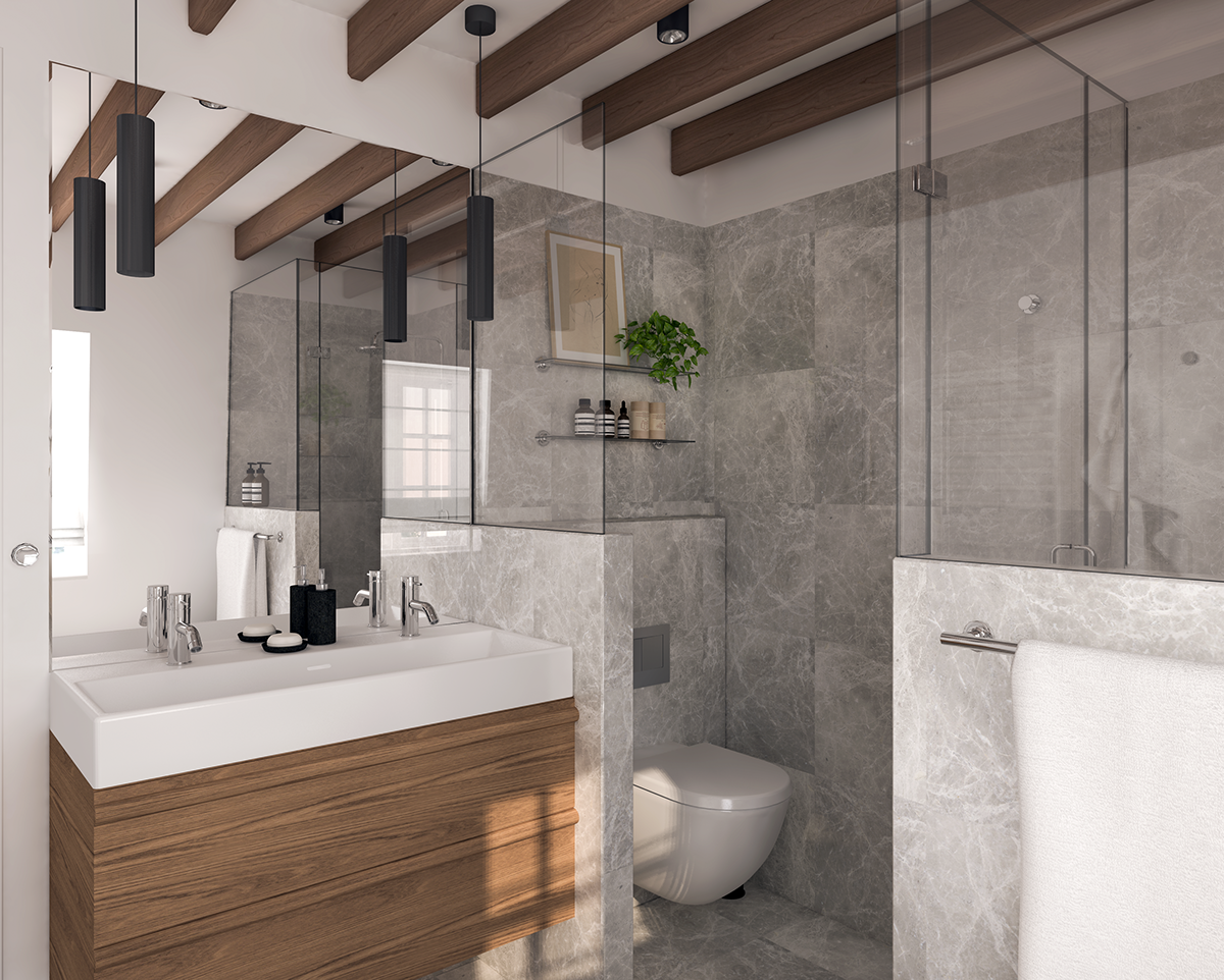 Marble and wood bathroom design on Behance