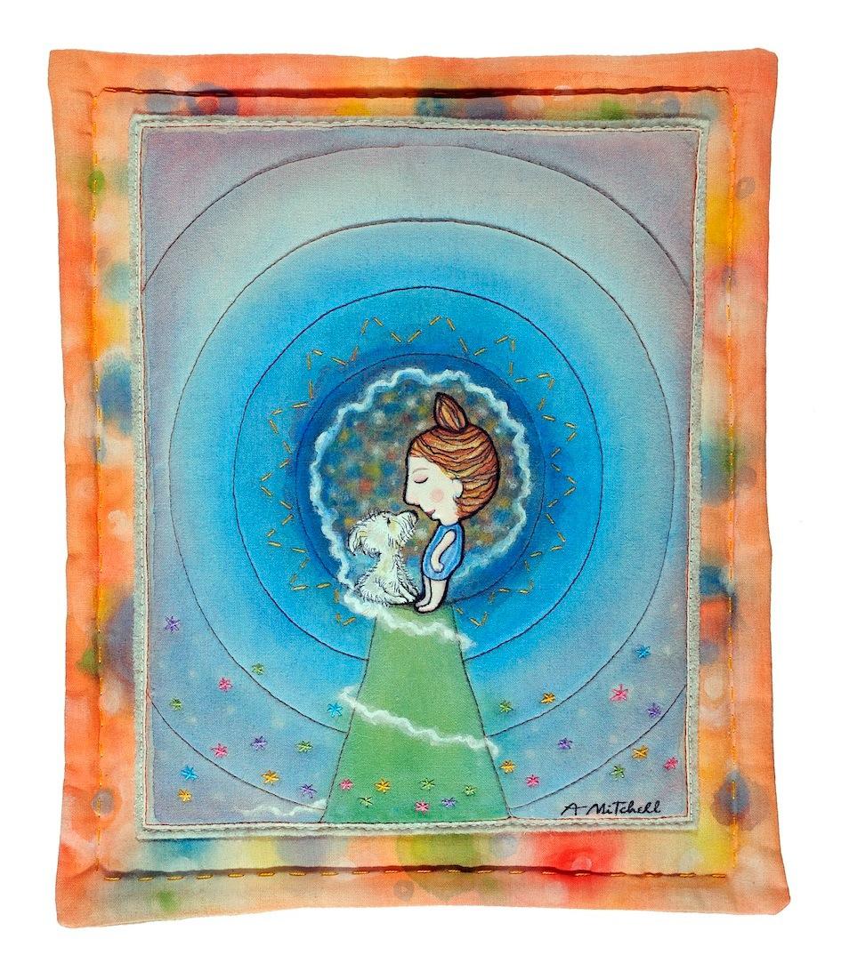 fabric felt hand-painted hand-sewn happy dog Love wall-hanging alex mitchell twinki-winki