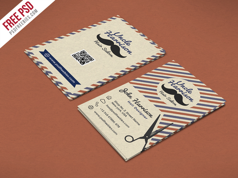 free psd,psd,freebie,Retro,barber,shop,vintage,Saloon,business card,print