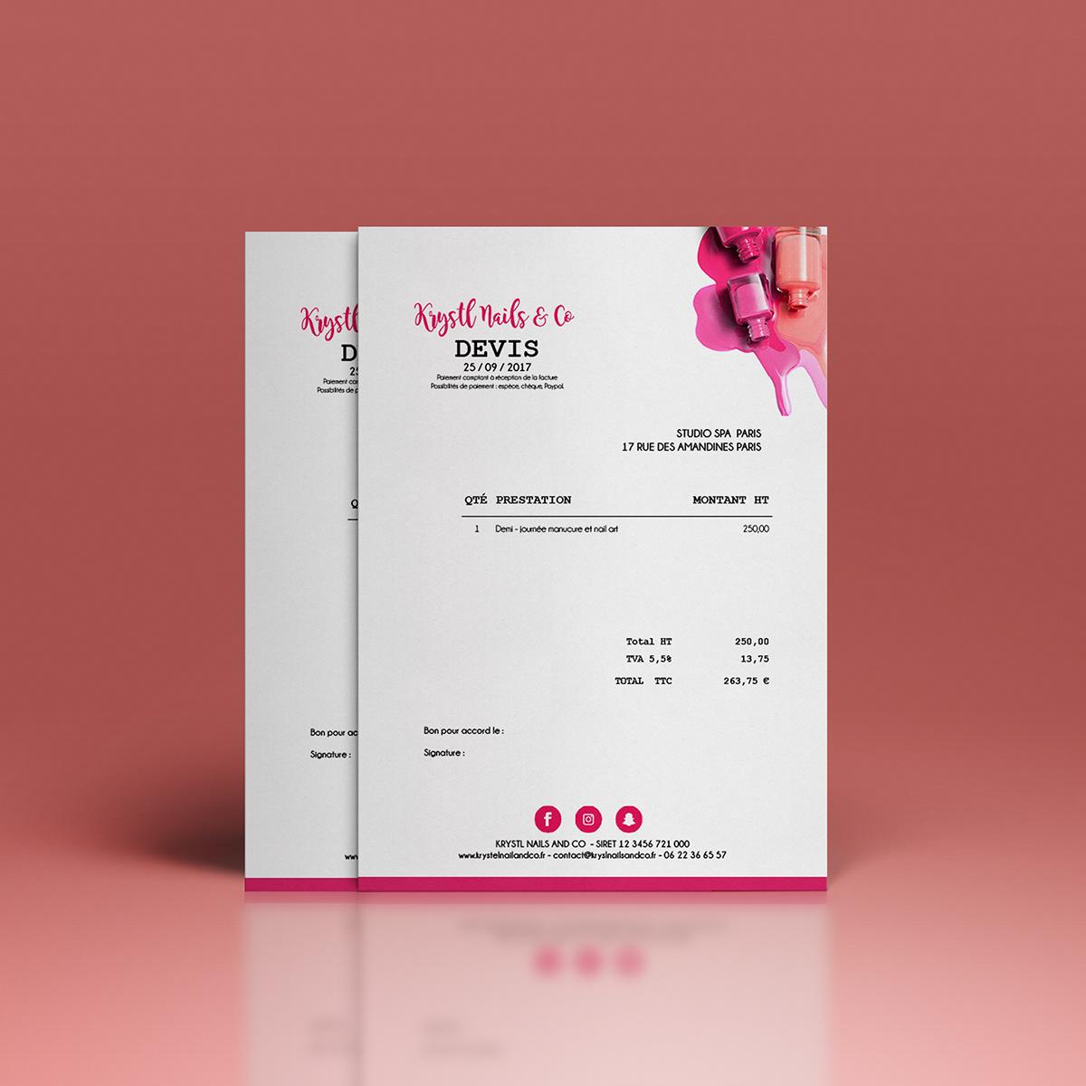 Creation De Carte Visite Presentation Numerique Des Tarifs Mise En Page Lettre Type Facture Et Devis Pour Le Compte Krystl Nails Co