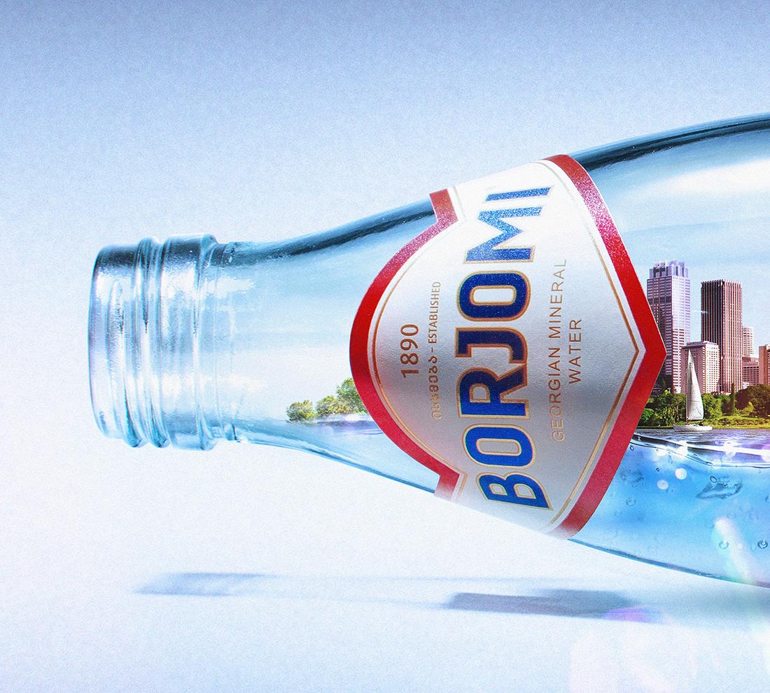 city 3D bottle Borjomi London New York mineral water water yacht skyline building tower Sydney Opera house sydney