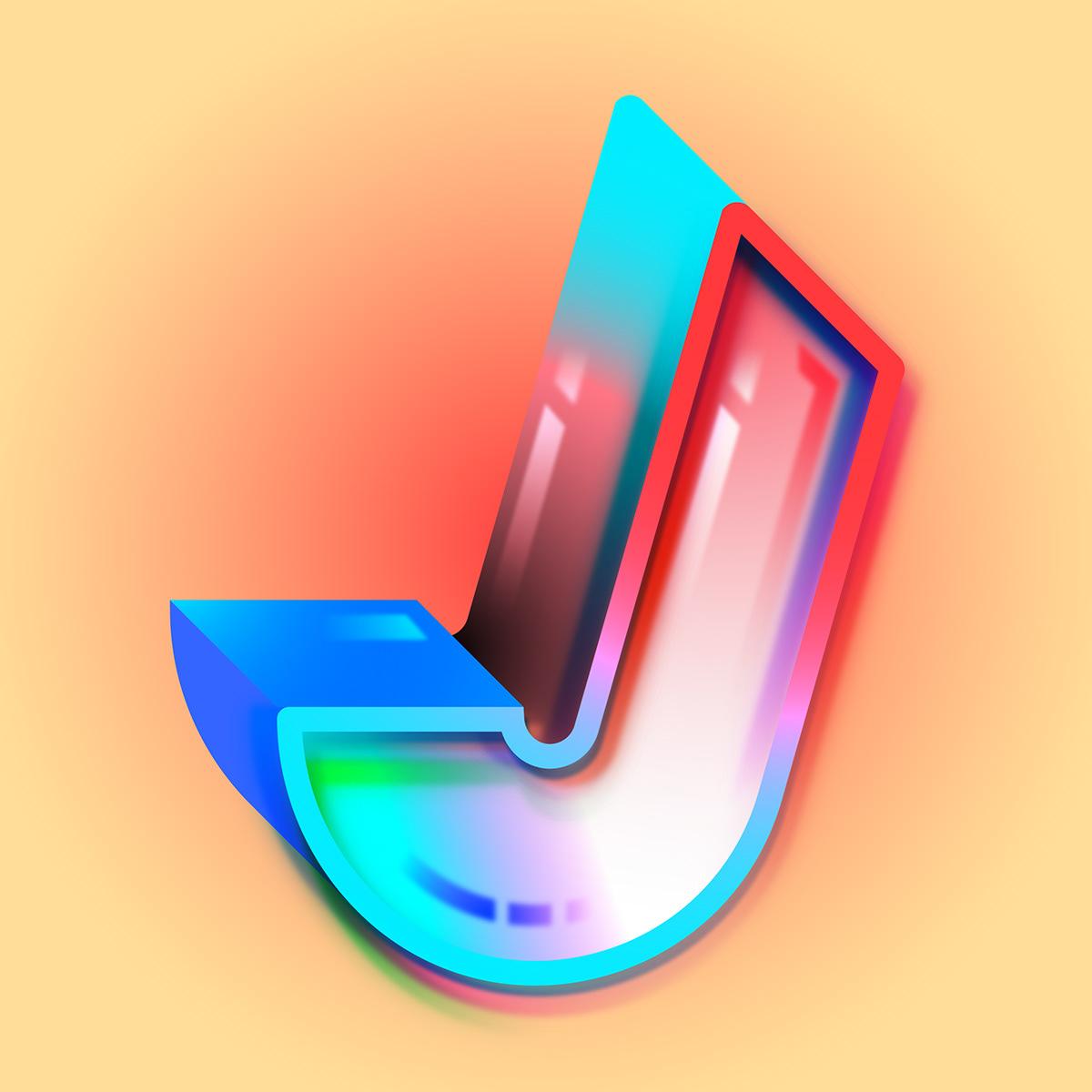 36 days 36daysoftype alphabet challenge digital letters neon tech type typography