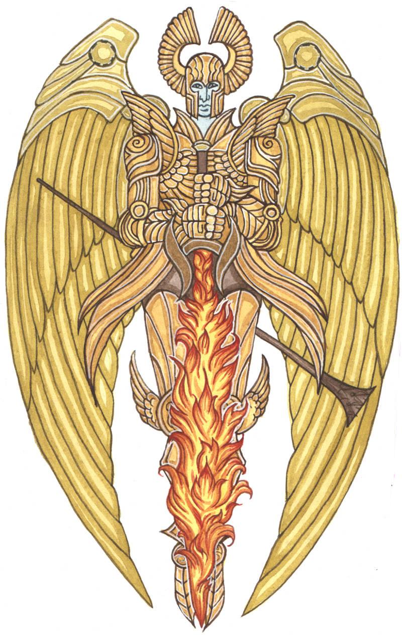Medvial Medival Style ornament devil demon angel fantasy art Watercolours watercolors manuscript