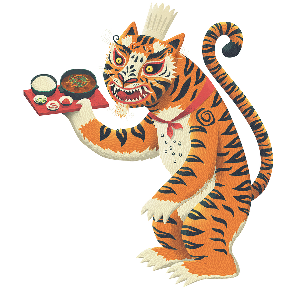 tigers Korea Mural magpie rabbit illustrated Drawing  folk art restaurant best