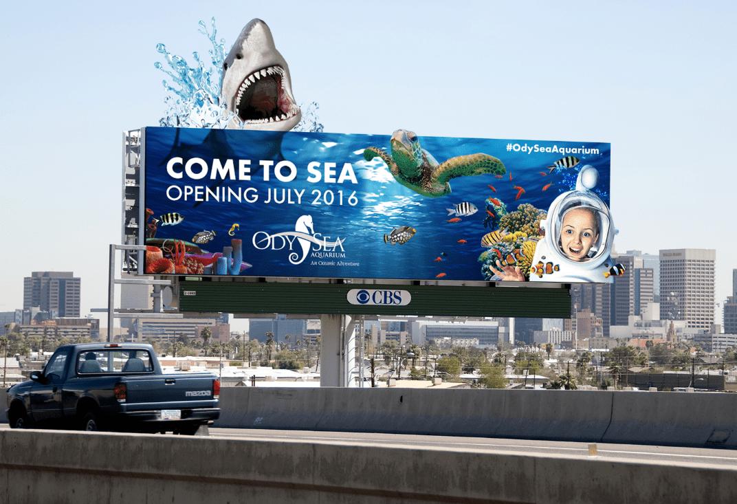 Advertising  aquarium billboard graphic design  large format Ocean out of home