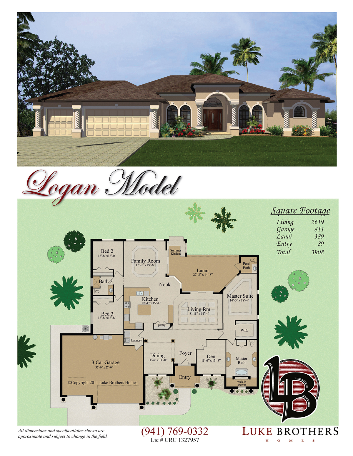 Color Floor Plan And Brochure Sample   Florida Home Style Standard Design  For Builder Client. CAD Work Drawn In Softplan V. 2014, Color And Texture  Work In ...