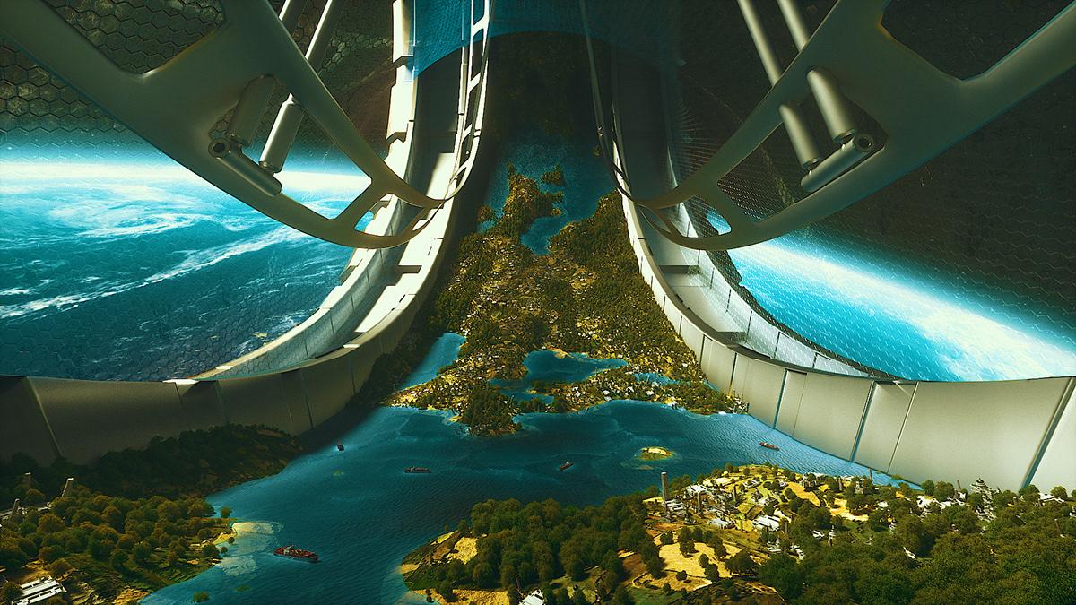3D animation  architecture c4d design future Space  motiondesign Scifi spaceship