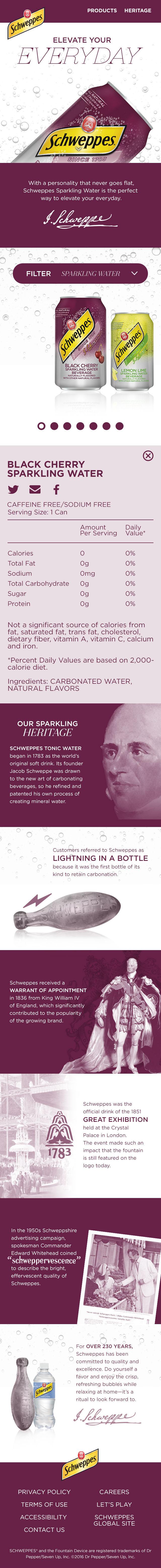Website Web Design  schweppes online mobile desktop sparkling water heritage
