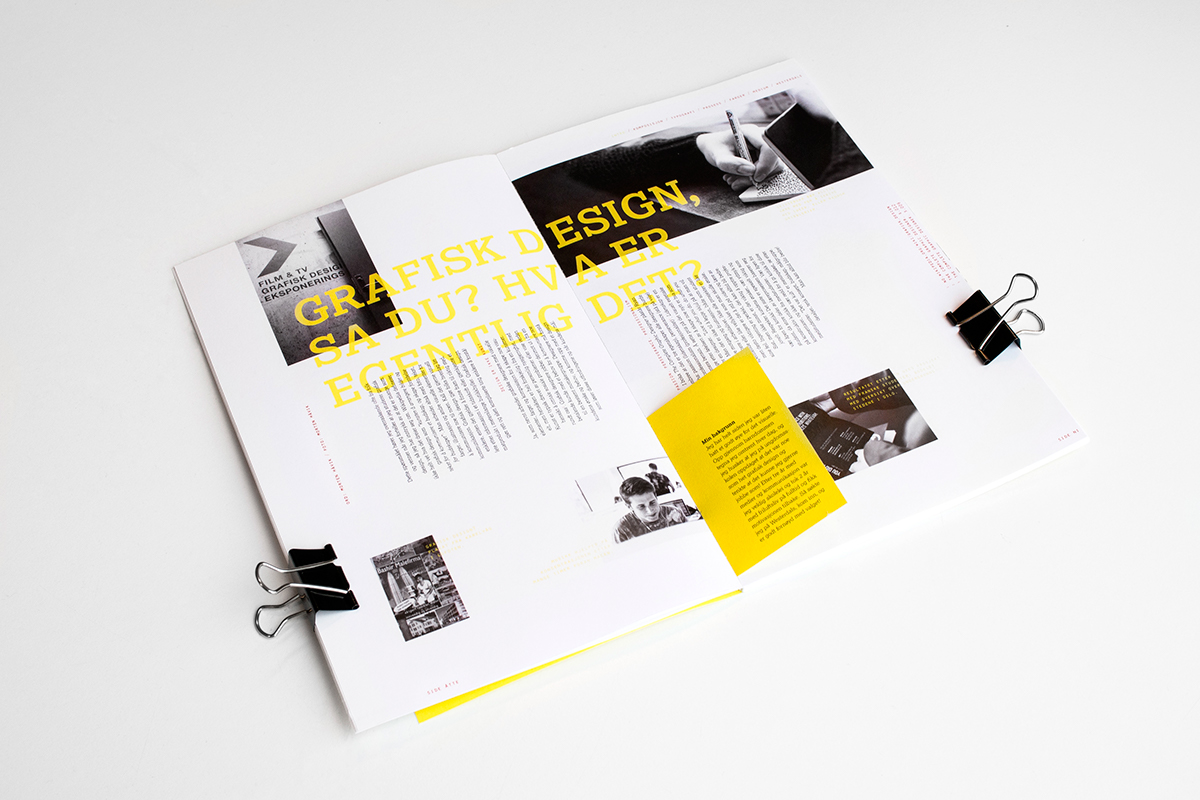 Layout print type spreads experimental westerdals magazine note editorial modern minimal yellow grid student Guide