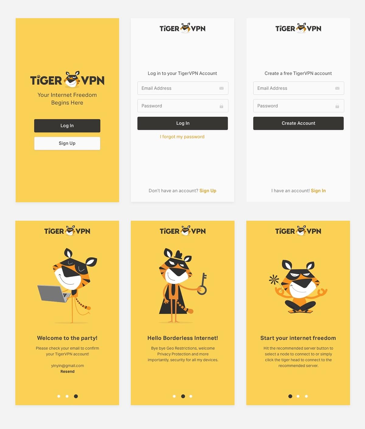 TigerVPN App Redesign on Pantone Canvas Gallery