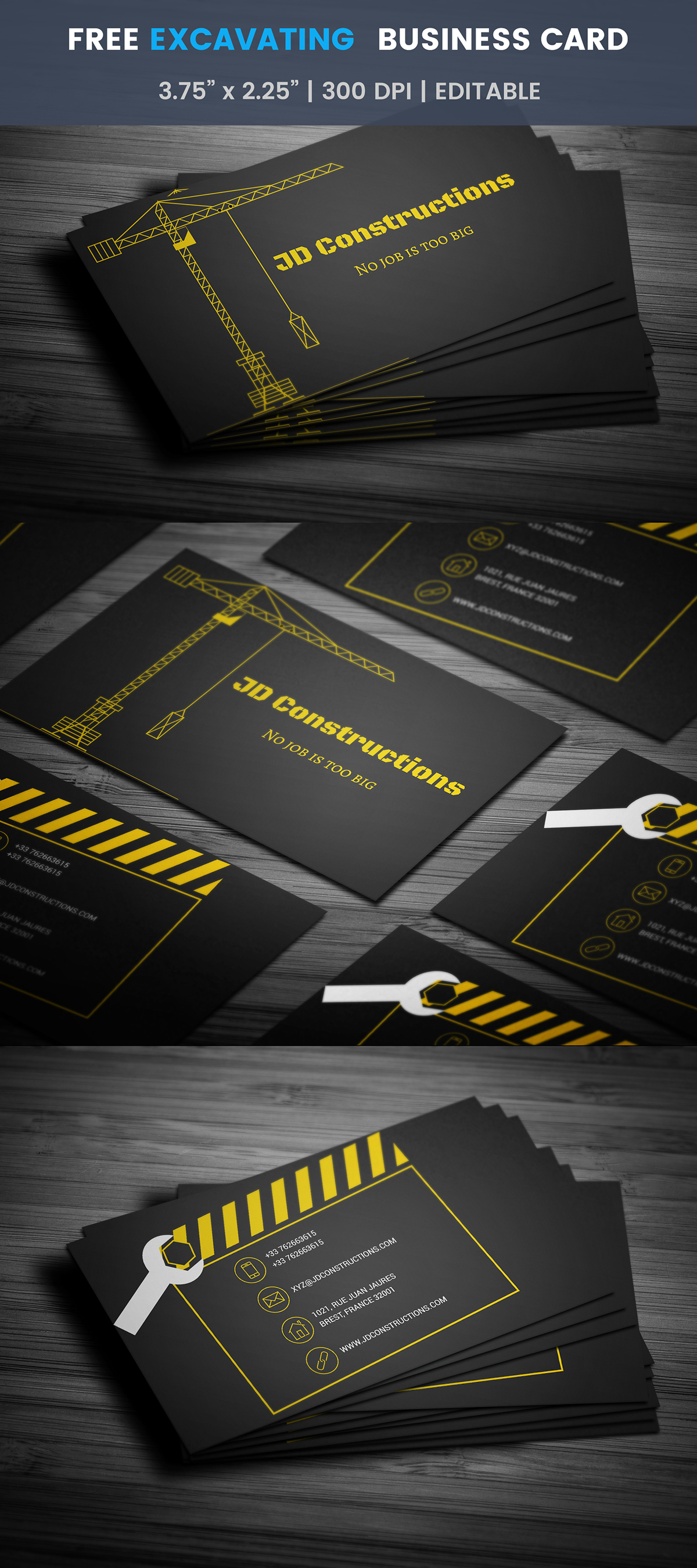 Free Construction Business Card Template On Student Show