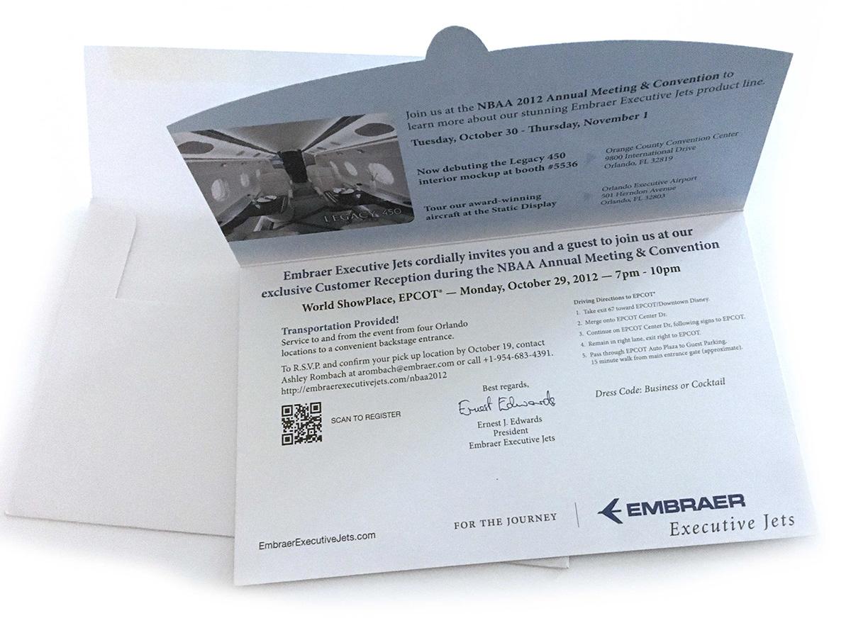Diecut Embraer envelope Invitation NBAA paper