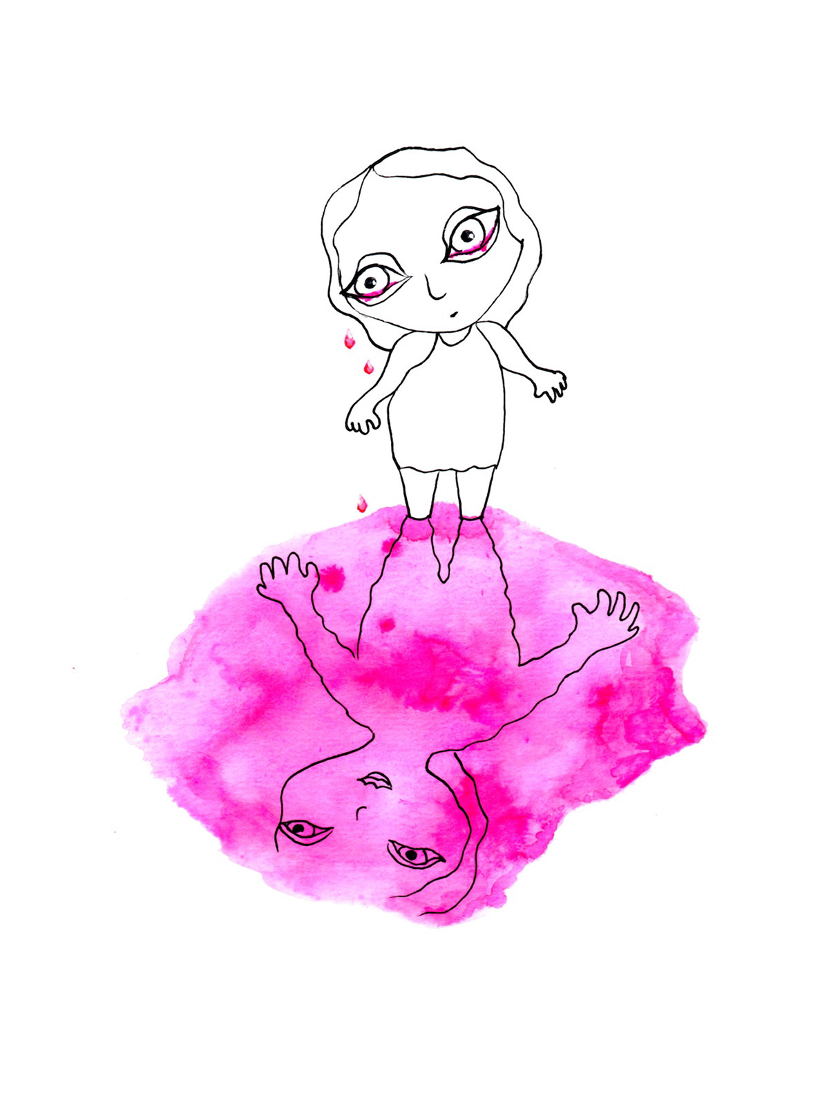paper hand-painted character development ILLUSTRATION  Drawing  watercolor ink alex mitchell twinki-winki process